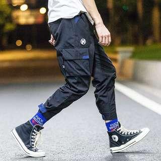 🚚 街頭九分工裝嘻哈寬鬆束腳褲