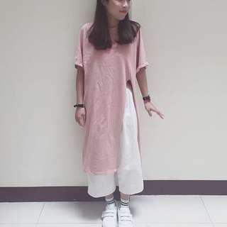PERDOT購入|粉色開叉長版上衣