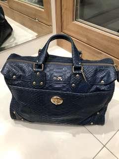 Coach blue handbag totebag snake skin