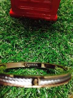 Two-tone PVD stainless steel cable bangle bracelet (unisex)
