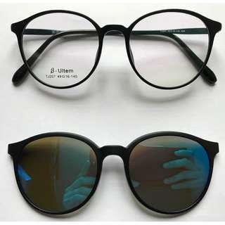 二合一偏光藍水銀夾片梨形眼鏡(D36)