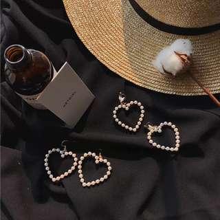 韓國愛心珍珠垂墜耳環