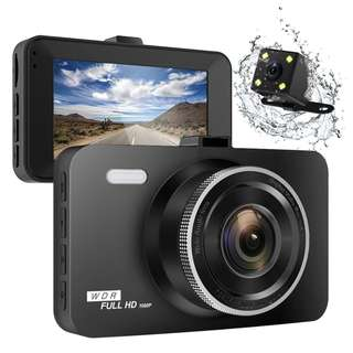 """349 (BRAND NEW) ULU SD10 Car Dash Cam 3.0"""" FHD 1080P Front + Rear 290° Super Wide Angle Car DVR Dashboard Camera Recorder with Sony Video Sensor,NTK96655 Chipset,32GB Card,Night Vision,G-Sensor,Loop Recording"""