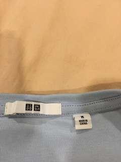 Uniqlo 3/4 sleeve baby blue top