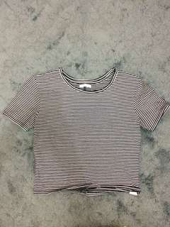 zara stripes crop tee