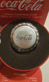 🚚 Coca cola 1 oz Silver Proof coin