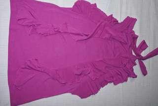 Ruffled purple sleeveless blouse