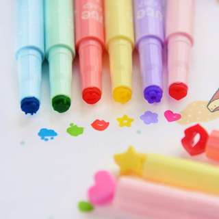 Cute 6Pcs Cute Candy Color Stamp Highlighters Pen Creative Marking Pen Stationery