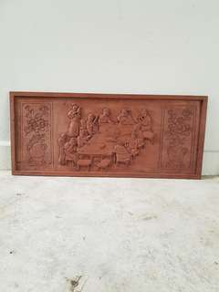 Vintage Oriental Wood Carved Panel (89.1cm*38.2cm)