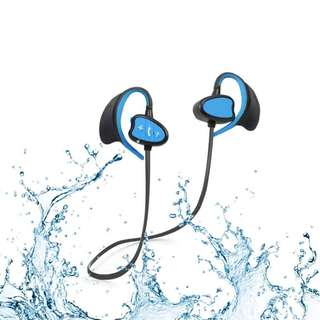 1171. Waterproof Sports Bluetooth Headphones – Wireless Sweatproof In-ear Earbuds with Mic for Outdoor Sports Running Noise Cancelling HD Sound Headsets Rechargeable Hands-Free Earphones(Blue)