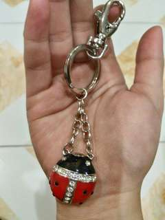 Lady bug with stones keychain