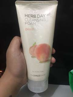 The Face Shop Herb Day Cleansing Foam in Peach