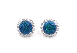 12mm Dreamy Blue Round Cabochon Opal with Cubic Zirconia in 925 Silver Earrings