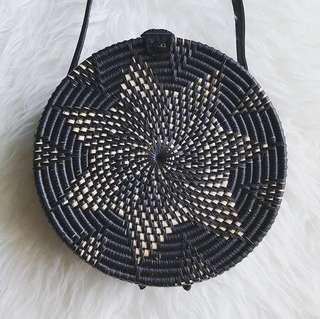 Black Rattan Flower Bag