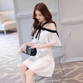 🚚 韓版氣質女裝掛脖一字領雪紡連身裙洋裝