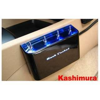 🚚 權世界@汽車用品 日本 Kashimura 4孔電源擴充插座 延長線開關式 LED藍光 點煙器 KX-124
