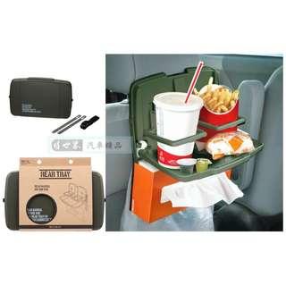 🚚 權世界@汽車用品 日本 SEIKO 多功能後座餐飲架 餐盤架 軍綠色 EN-13
