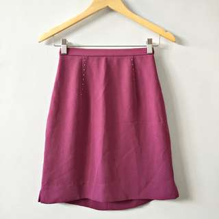Magenta A-Line Skirt with Accent