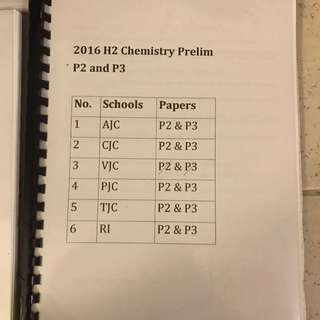 HCI: H2 Chemistry Prelim Papers And Suggested Answers