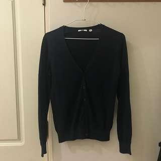 ♡UNIQLO深藍v領針織上衣/外套/罩衫