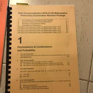HCI H2 Mathematics Prelim And Post Prelim Revision Packages
