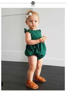 Baby green romper / baby clothes/ muslin/ swaddle
