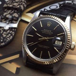 SOLD-      36mm Rolex Men's Datejust Ref.16013 In Original Gloss Black