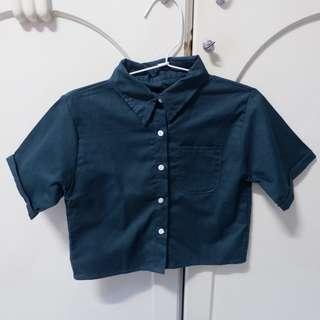 Green crop shirt