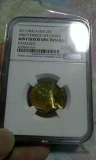 卖一枚马来西亚大错体硬币,UNC品相 值得收藏😍