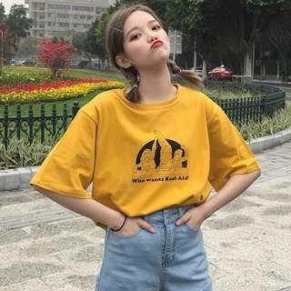 🐶可愛搞怪少女復古印花上衣 短袖T恤 三色可選 夏季新款