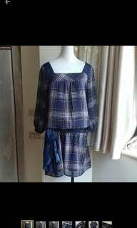 🚚 JOAN瓊安 紫格紋寬鬆手袖雪紡洋裝