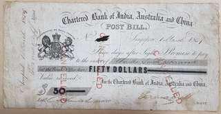 1859 $50 Post Bill Chartered Bank India Australia China Straits