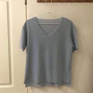 ♡baby藍v領針織上衣
