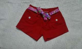 Red shorts for little girl