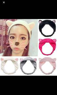 Secret key Korean Cat Ears Headband Towel Hair Band