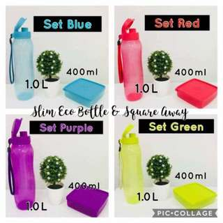 1L Slim Eco Bottle + 400ml square away Set