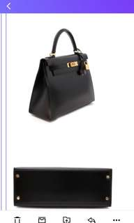 Hermes kelly black gold box leather