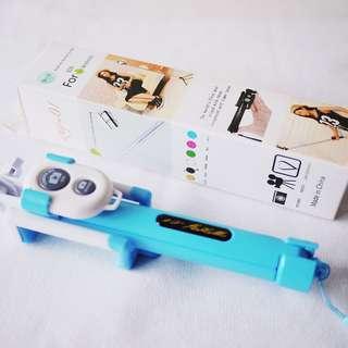 🚚 藍色三腳架自拍神器自拍棒藍芽無線遙控器