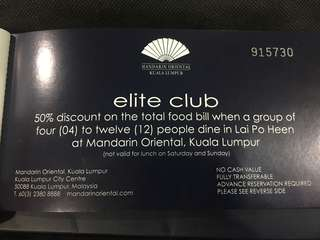 Mandarin Oriental Lai Po Heen 50% Voucher