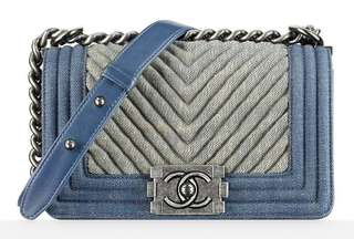Authentic Chanel Boy Chevron Medium Flap Bag in Denim