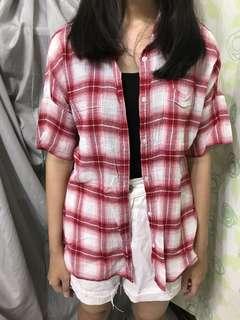 🚚 GU紅格子短袖襯衫