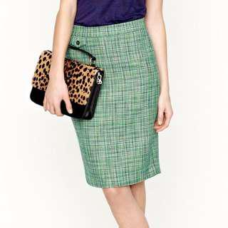 5f8f9011c0 Auth J CREW No. 2 Pencil Skirt 78129 Green Blue Caribbean Tweed US 8 EUC