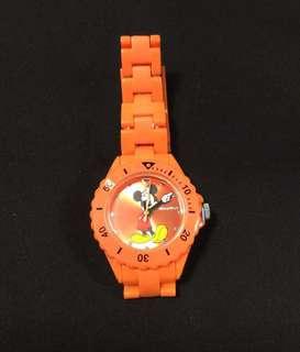 Disney Mickey Mouse 橙色膠手錶