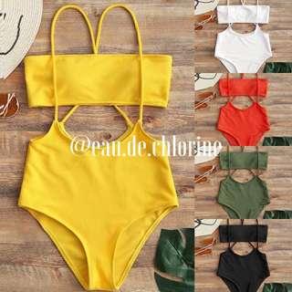 Erica Yellow White Green Two Piece Swimsuit Bikini Swimwear