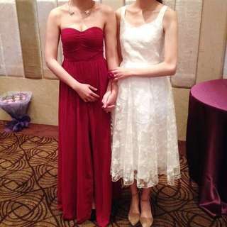 紅色雪紡長洋裝(免運)