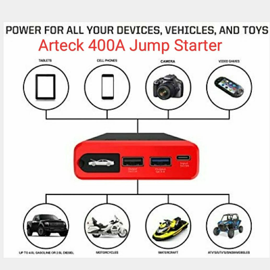 Flashlight ARTECK Car Jump Starter Up To 4.0L Auto Battery Charger and 12000mAh Portable External Battery Charger for Automotive with Clamp 12V Output 400A Peak