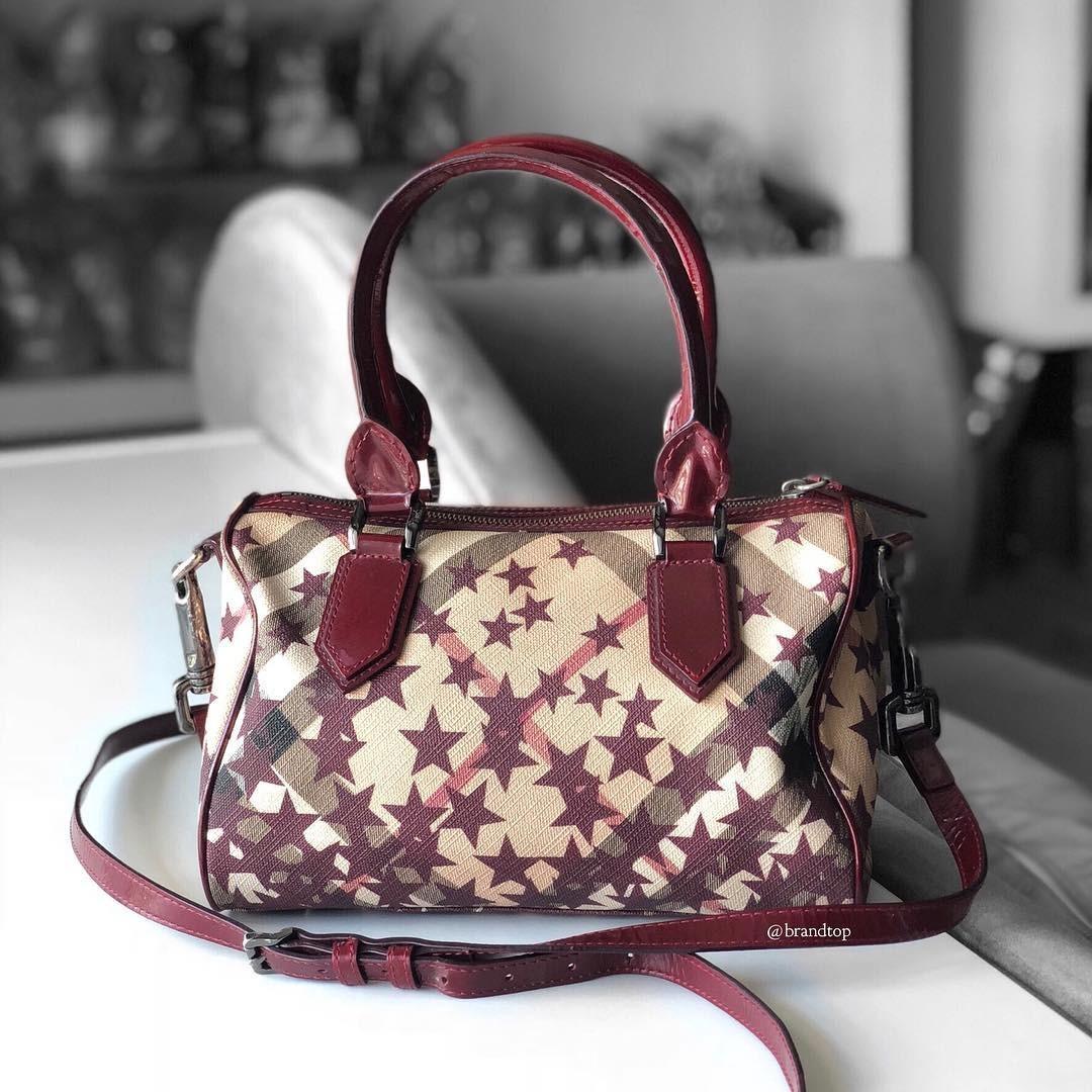 d574cd2caf15 Authentic Burberry Nova Check Star Red Bowling Bag