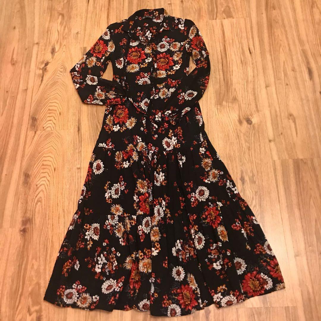 09939c1d5d2 Authentic Zara Basic Floral maxi Shirt dress  july50