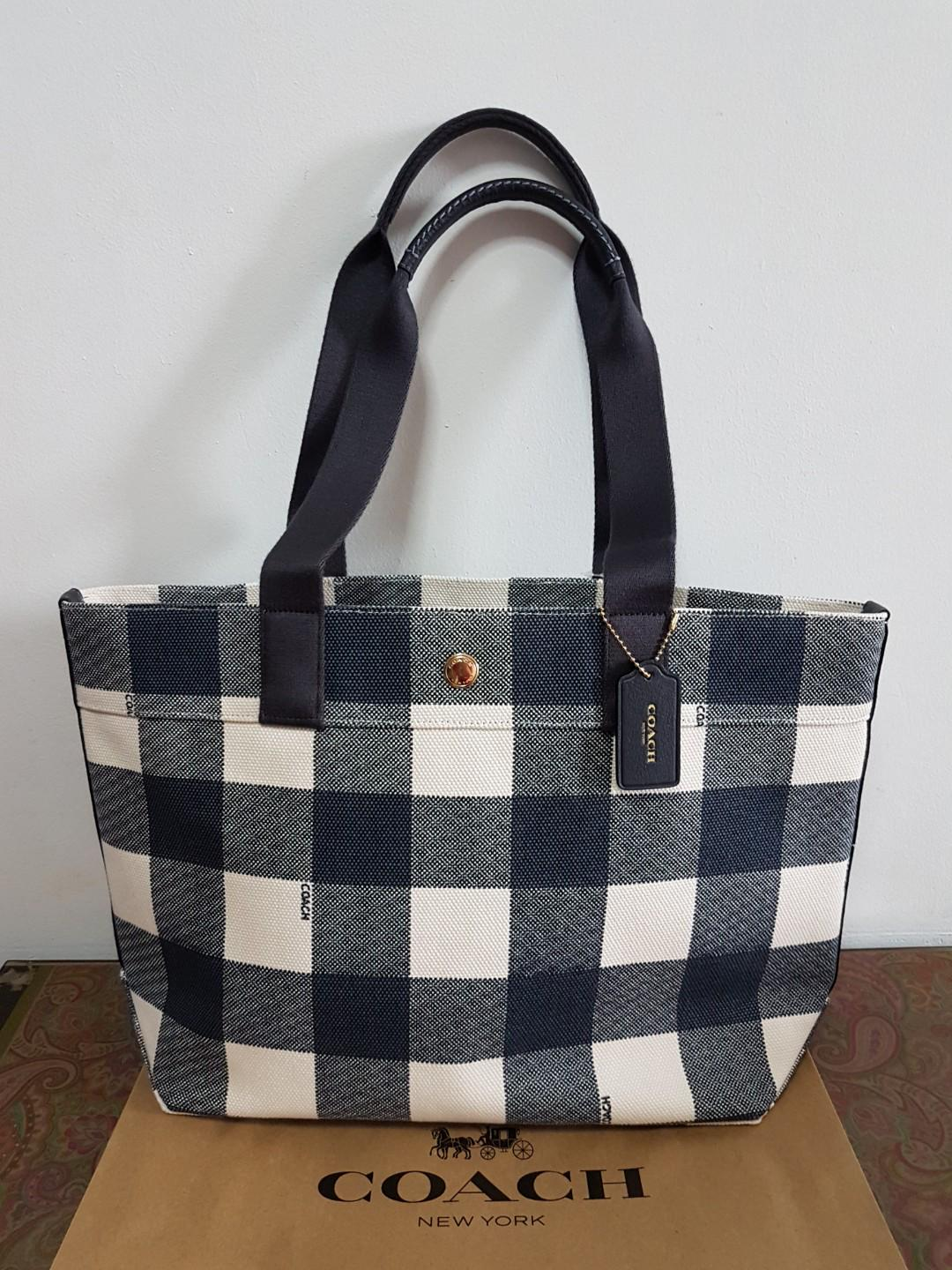 36c0210b4b Brand New! Authentic Coach Buffalo Plaid Print Midnight Canvas Tote ...