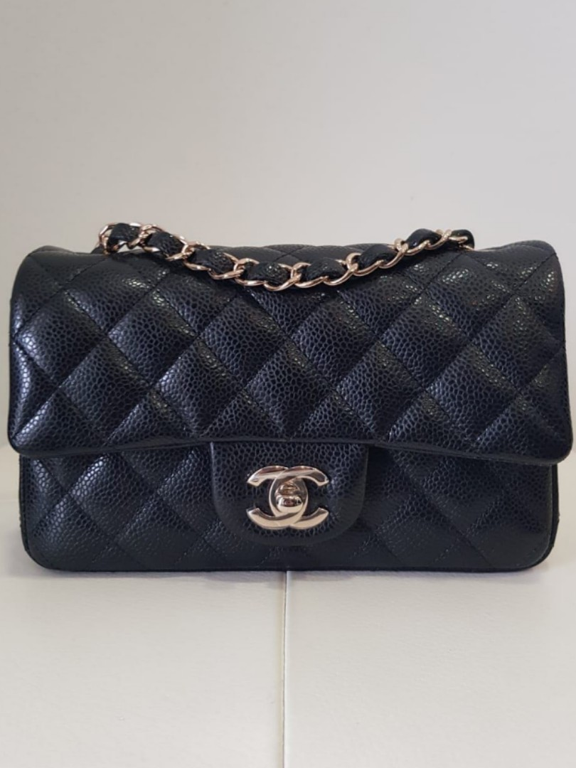 543017d6a05a Chanel 18S mini rectangle classic flap in black caviar with GHW ...
